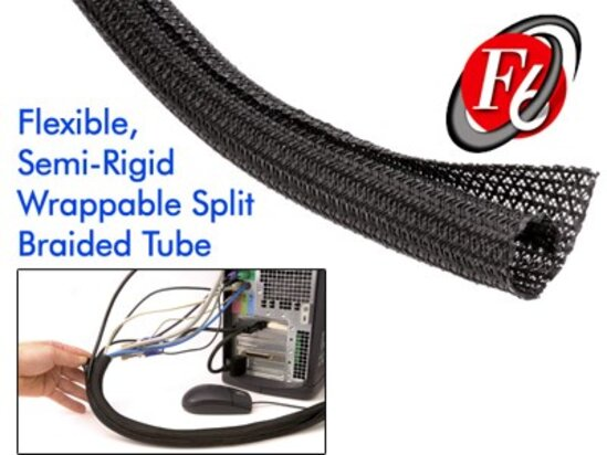 Picture of 1 Inch Black F6 Braided Sleeve - 25FT