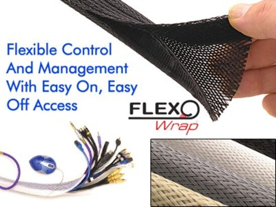 Picture of 1 1/4 Inch Black Flexo Wrap Braided Sleeve - 25FT