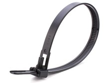 black 10 inch standard releaseable cable tie