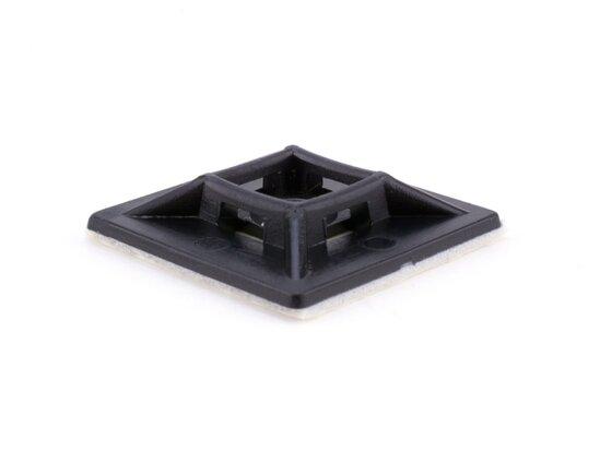 black 1 inch square adhesive tie mount