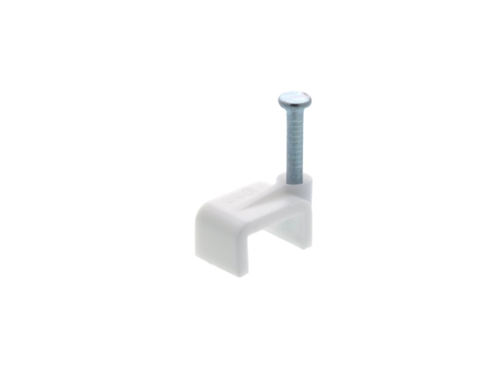 Picture of 10mm White Flat Nail Cable Clip - 100 Pack