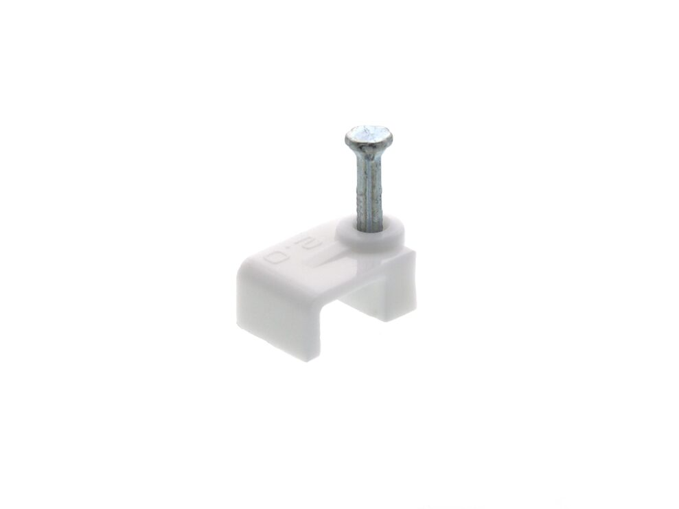 Picture of 8.5mm White Flat Nail Cable Clip - 100 Pack