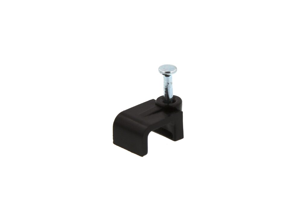 Picture of 8mm Black Flat Nail Cable Clip - 100 Pack