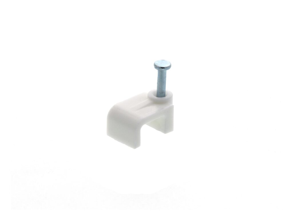 Picture of 8mm White Flat Nail Cable Clip - 100 Pack