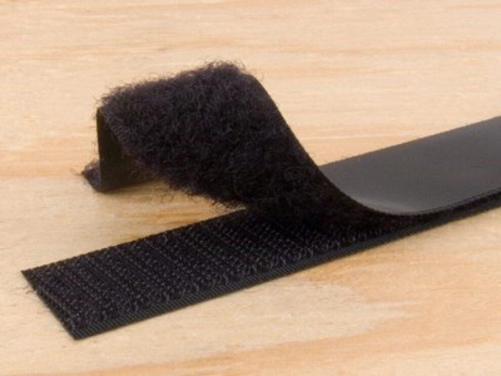 black 1 inch self adhesive hook and loop tape