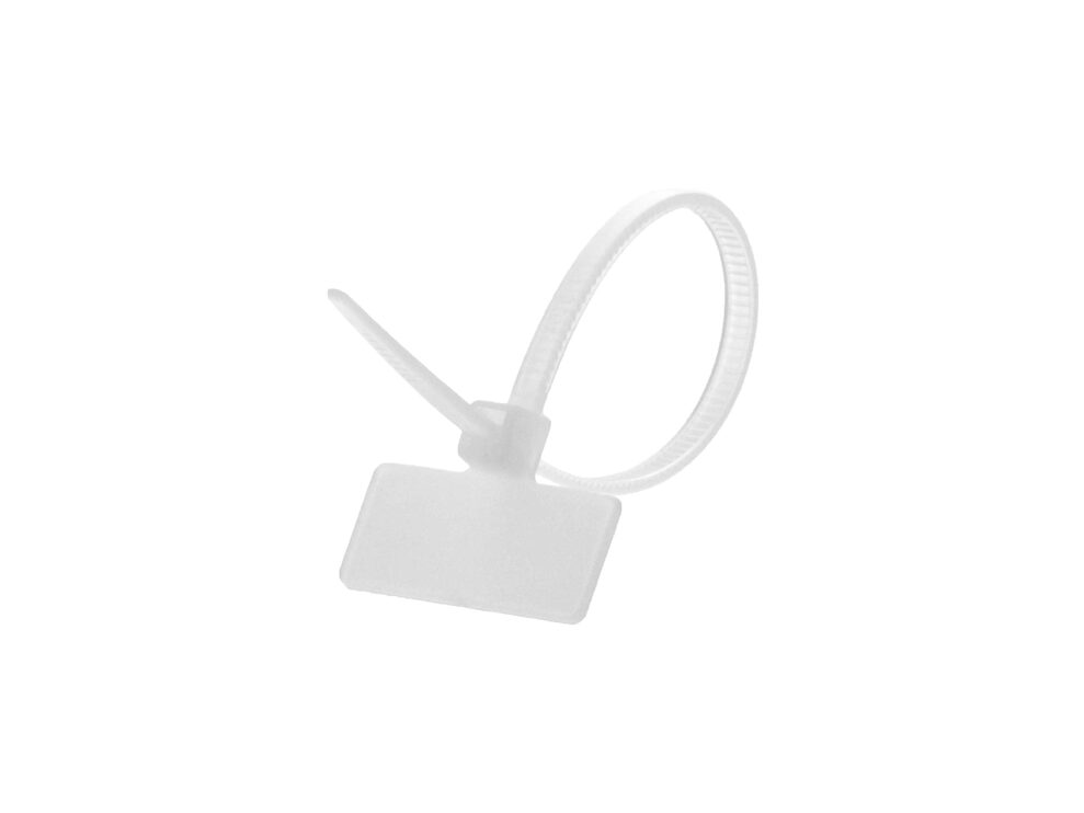 Picture of 4 Inch Natural Miniature ID Cable Tie - Outside Flag - 100 Pack