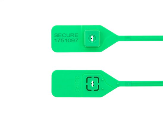 green 13 inch standard tear away tamper evident plastic seal