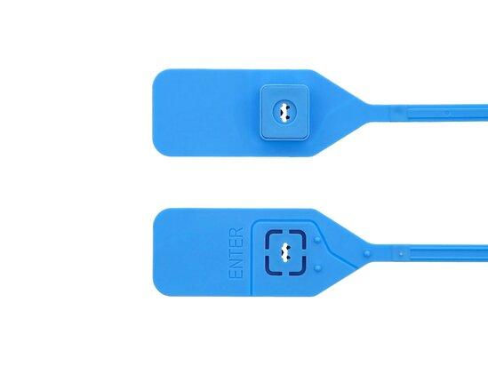 13 Inch Standard Unlabeled Blue Tear Away Plastic Seal