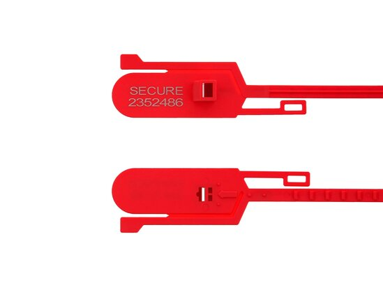 red 15 inch tamper evident tear away plastic security seal