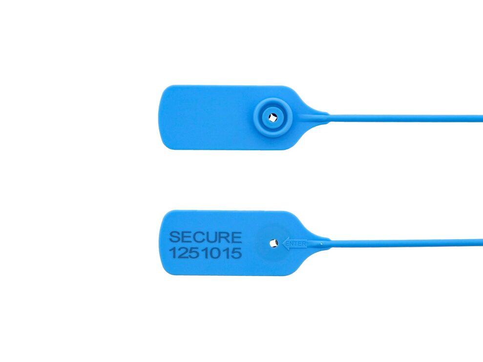 blue 15 inch high security tamper evident plastic security seal