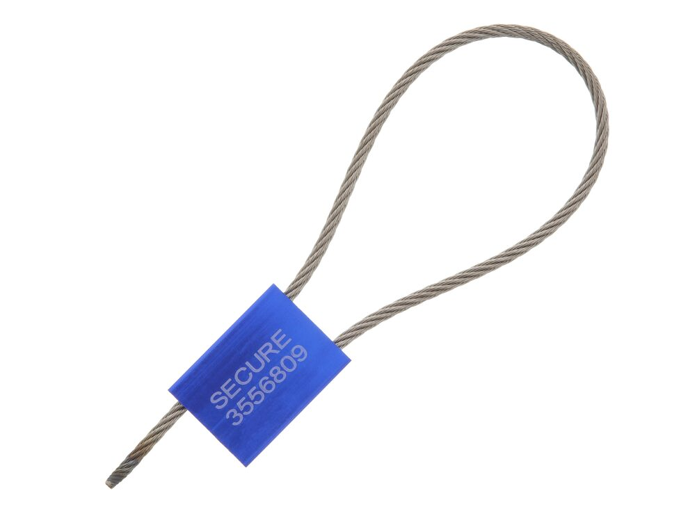 Picture of 12 Inch Blue Pull Tight Stainless Steel Cable Seal with 3.5mm wire - 50 Pack