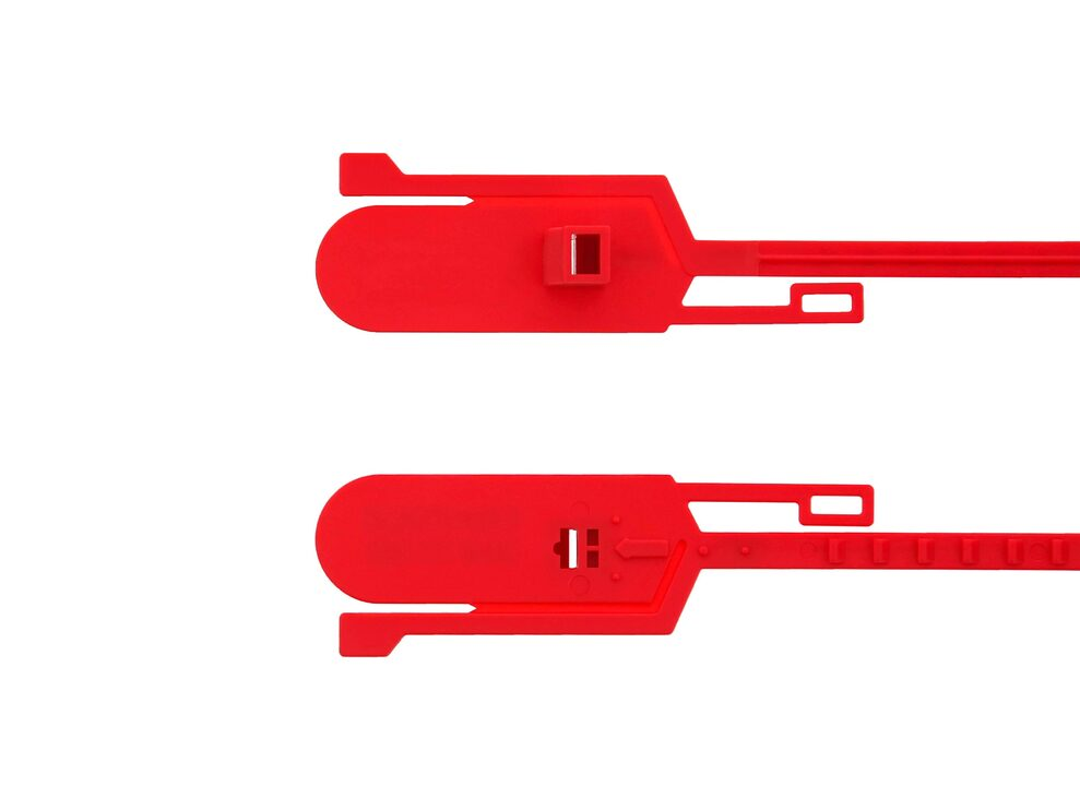 15 Inch Unlabeled Tamper Evident Tear Away Red Plastic Seal