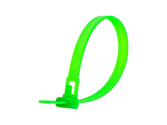 8 Inch Flourescent Green Standard Releasable Cable Tie
