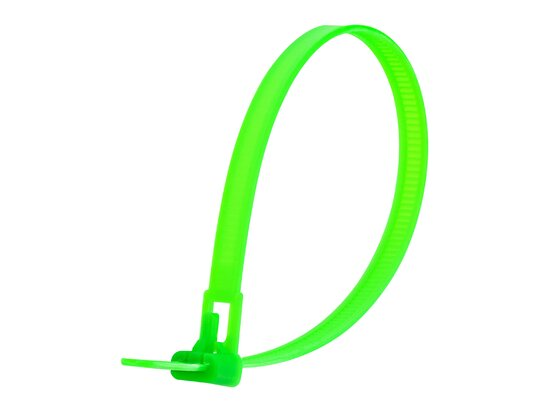 10 Inch Flourescent Green Standard Releasable Cable Tie