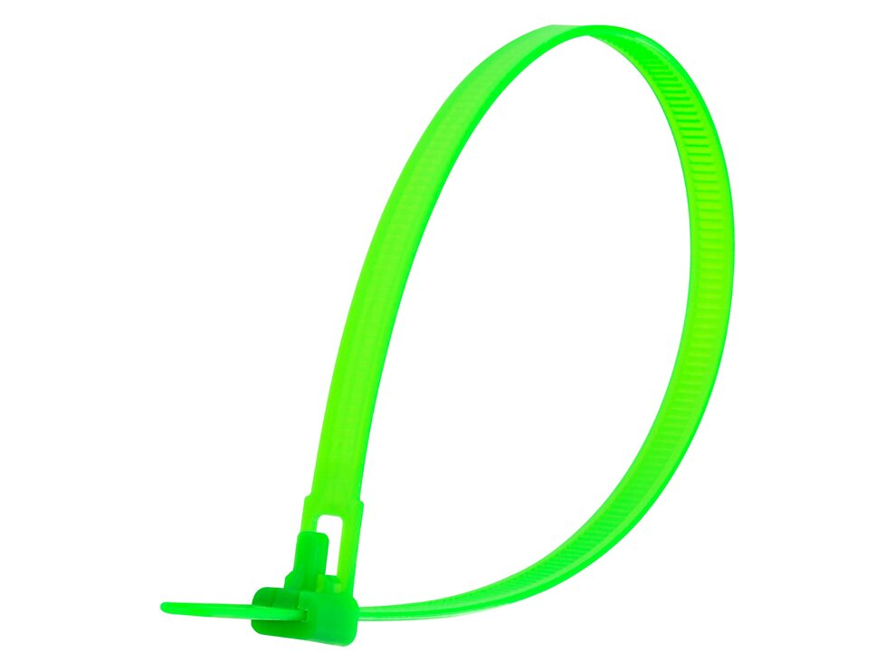12 Inch Flourescent Green Standard Releasable Cable Tie