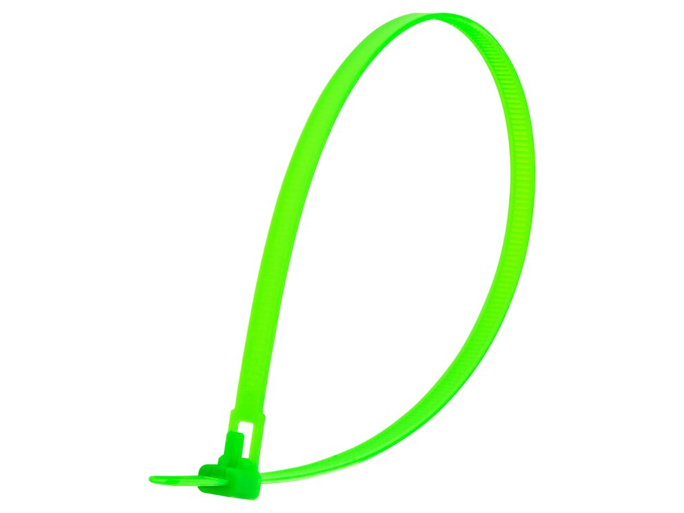 14 Inch Flourescent Green Standard Releasable Cable Tie