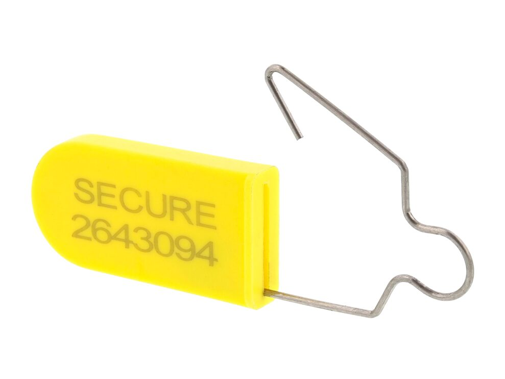 Yellow Plastic Padlock Security Seal with Metal Wire