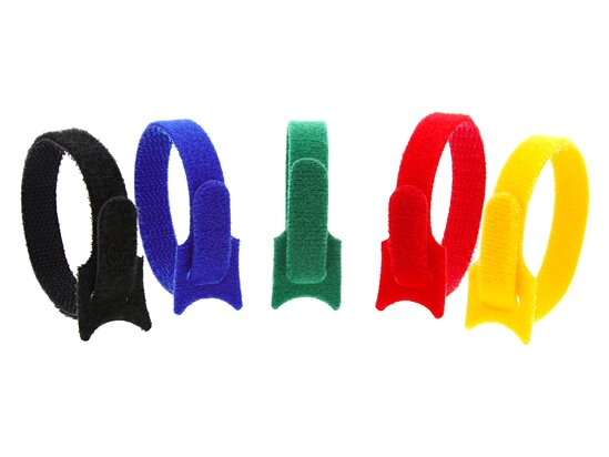 Picture of 8 Inch Multi-colored Hook and Loop Tie Wraps - 50 Pack