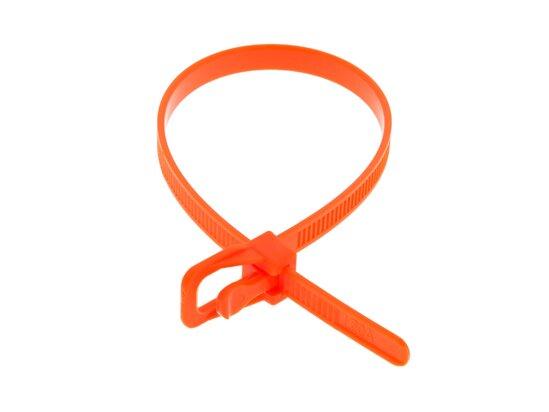 Picture of RETYZ EveryTie 8 Inch Fluorescent Orange Releasable Tie - 100 Pack