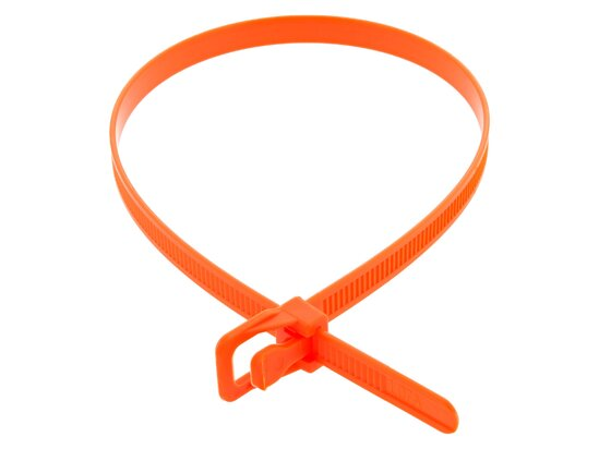 Picture of RETYZ EveryTie 16 Inch Fluorescent Orange Releasable Tie -100 Pack