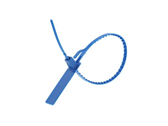 Picture of 11 Inch Blank Metal Detectable Tear Away Blue Plastic Steal - 100 Pack