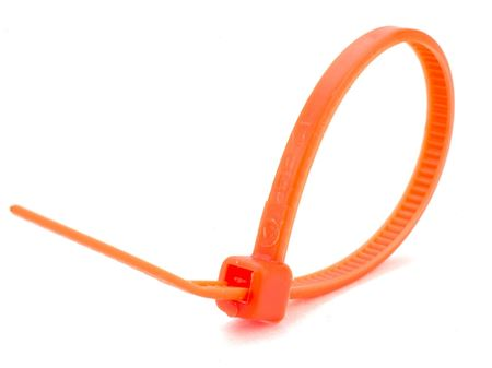 flourescent orange 8 inch miniature nylon cable tie