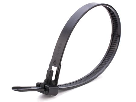 black 10 inch heavy duty releaseable cable tie