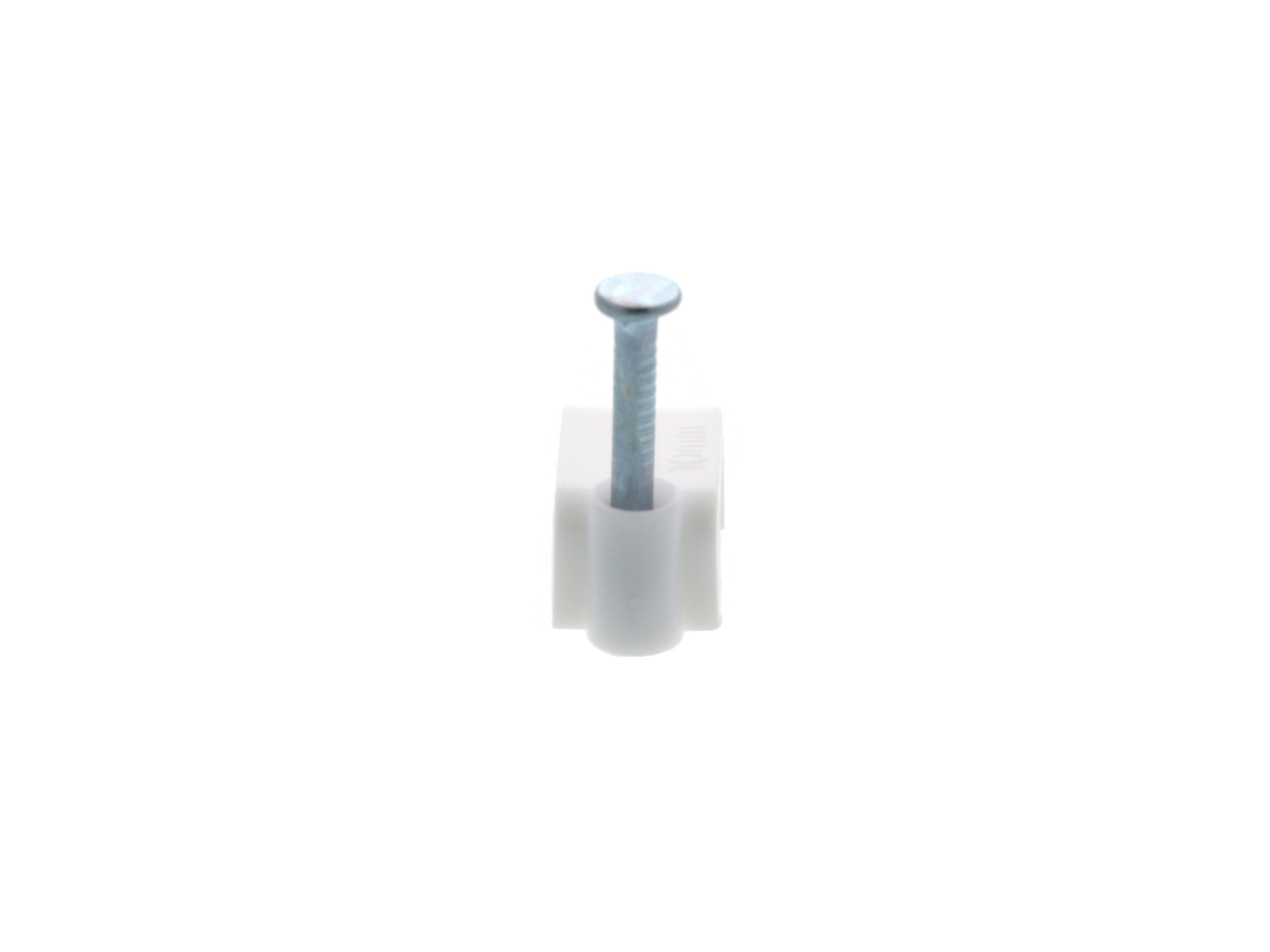 10mm White Flat Nail Cable Clip - 100 Pack on black white black, black white cube, black white pin, black white washer, black white tools, black white panel, black white bowl, black white oval, black white pail, black white movies, black white drum, black white seal, black white anime, black white window, black white nut, black white cap, black white toy,