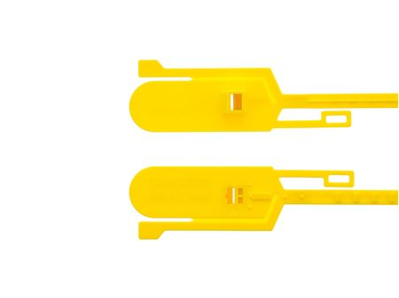 15 Inch Unlabeled Tamper Evident Tear Away Yellow Plastic Seal