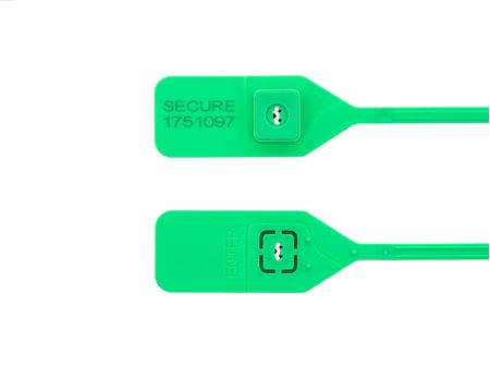 Picture of 13 Inch Standard Green Tear Away Plastic Seal with Steel Locking Piece - 100 Pack