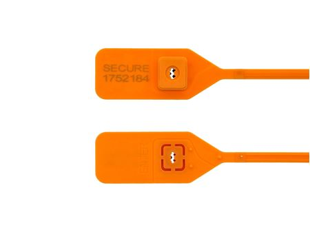 Picture of 13 Inch Standard Orange Tear Away Plastic Seal with Steel Locking Piece - 100 Pack