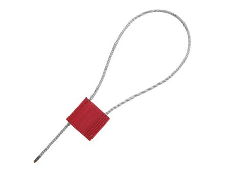Picture of 12 Inch Red Blank Pull Tight Stainless Steel Cable Seal with 2.5mm wire - 50 Pack