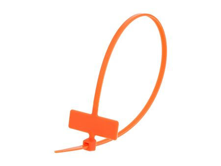 Inside Flag 8 Inch Orange Miniature Identification Cable Tie Loop