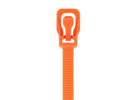 Picture of 6 Inch Fluorescent Orange RETYZ Releasable Standard Cable Tie - 100 Pack