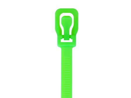 Picture of 16 Inch Fluorescent Green RETYZ Releasable Standard Cable Tie - 100 Pack